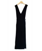 CLANE(クラネ)の古着「クロスデザインジャンパースカート」|ブラック