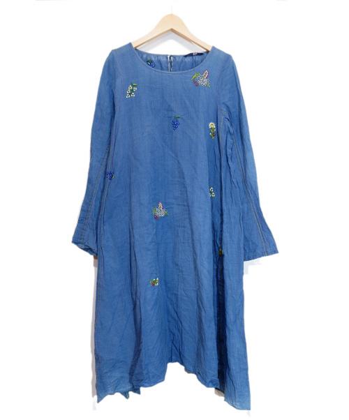 45R(フォーティファイブアール)45R (フォーティファイブアール) 刺繍ワンピース ブルー 春物の古着・服飾アイテム