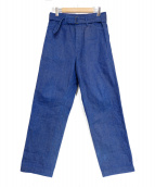 COMOLI(コモリ)の古着「ベルテッドデニムパンツ」|インディゴ