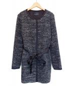 M-premier(エムプルミエ)の古着「ノーカラーコート」|ホワイト×ブラック