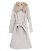 NATURAL BEAUTY(ナチュラルビューティー)の古着「カシミヤ混フォックスファー襟ロングウールコート」 ベージュ