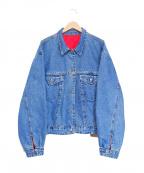 GAP(ギャップ)の古着「リバーシブルデニムジャケット」|ブルー×レッド