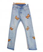 mnml(ミニマル)の古着「BUTTERFLY DENIM/デニムパンツ」|ブルー