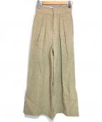 FRAY ID(フレイアイディー)の古着「ラスティックリネンワイドパンツ」 ベージュ