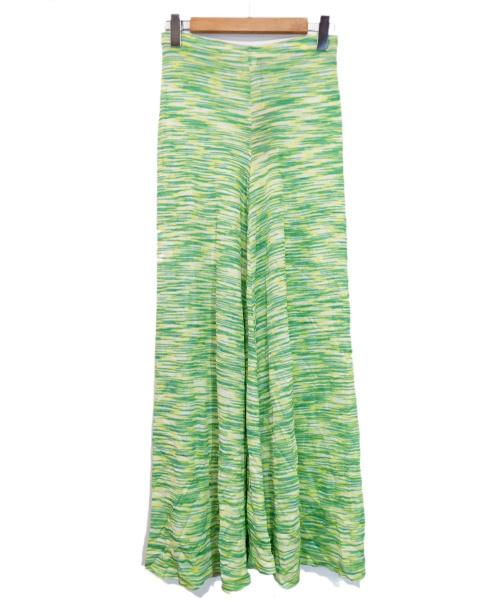 missoni(ミッソーニ)MISSONI (ミッソーニ) ニットパンツ グリーン×イエロー サイズ:46の古着・服飾アイテム