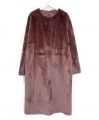ROPE mademoiselle(ロペマドモアゼル)の古着「ベルト付きエコムートンリバーシブルコート」 パープル