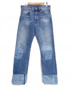 LEVIS VINTAGE CLOTHING(リーバイスヴィンテージクロージング)の古着「リペア加工セルヴィッチデニムパンツ」|インディゴ