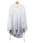 RITO(リト)の古着「サテンストライプシャツ」 アイボリー×グレー