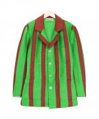 ISSEY MIYAKE()の古着「ストライプニットジャケット」|グリーン×ブラウン