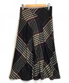 TOMORROW LAND collection(トゥモローランドコレクション)の古着「ウールタータンチェック フレアスカート」|ブラック
