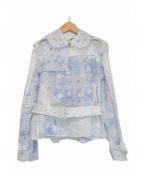 TAO COMME des GARCONS(タオ コムデギャルソン)の古着「綿麻リペアデザインショートトレンチコート」|ホワイト×ブルー