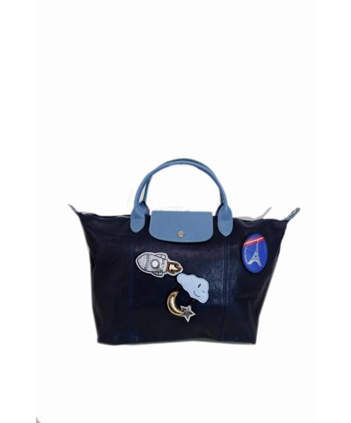 LONGCHAMP(ロンシャン)LONGCHAMP (ロンシャン) LIMITED EDITIONルプリアージュハンドバ ネイビー×ブルー サイズ:採寸の古着・服飾アイテム