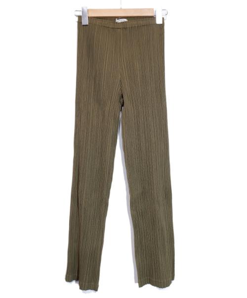 PLEATS PLEASE(プリーツプリーズ)PLEATS PLEASE (プリーツプリーズ) プリーツパンツ オリーブ サイズ:1 未使用品の古着・服飾アイテム