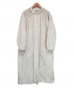 Samansa Mos2(サマンサモスモス)の古着「リネン混ステンカラーナチュラルコート」|アイボリー