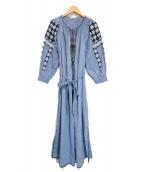 ULLA JOHNSON(ウラ ジョンソン)の古着「刺繍ブラウスワンピース」|ブルー