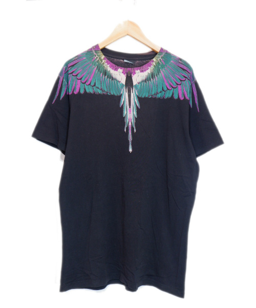 MARCELO BURLON(マルセロバーロン)MARCELO BURLON (マルセロバーロン) フェザープリントTシャツ ブラック サイズ:Mの古着・服飾アイテム