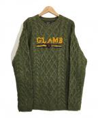 glamb(グラム)の古着「ケーブルニット」|カーキ