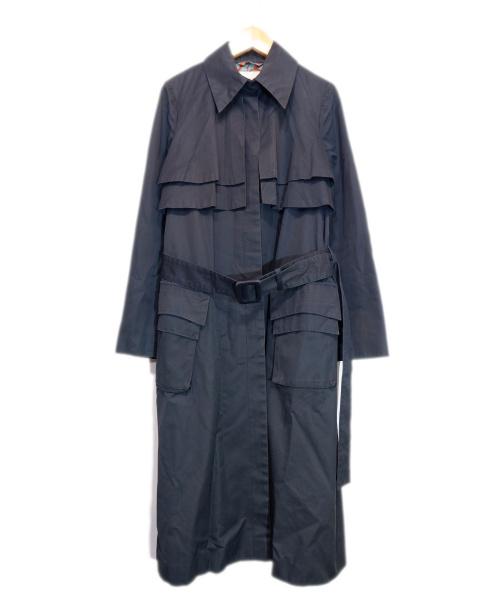 machiko jinto(マチコ ジント)machiko jinto (マチコ ジント) レースデザイントレンチコート ネイビー サイズ:Mの古着・服飾アイテム