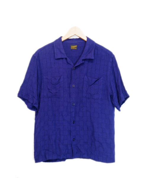 TENDERLOIN(テンダーロイン)TENDERLOIN (テンダーロイン) レーヨンナイロンオープンカラーシャツ パープル サイズ:MEDIUMの古着・服飾アイテム