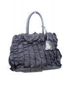 PRADA(プラダ)の古着「フリルハンドバッグ」|ブラック