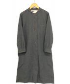 ()の古着「ウールバンドカラーシャツワンピース」 グレー