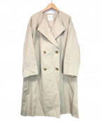 ROSE BUD(ローズバッド)の古着「ノーカラーオーバーコート」 アイボリー