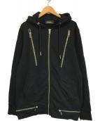 DIESEL(ディーゼル)の古着「マルチジップパーカー」|ブラック
