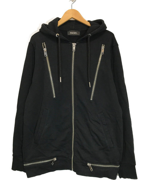 DIESEL(ディーゼル)DIESEL (ディーゼル) マルチジップパーカー ブラック サイズ:L only the braveの古着・服飾アイテム