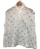 45R(フォーティファイブアール)の古着「ミドルガーゼフラワー刺繍ブラウス」 ホワイト