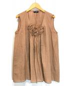45R(フォーティファイブアール)の古着「カディレイフリルノースリーブブラウス」 ベージュ