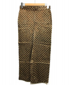 45R(フォーティファイブアール)の古着「レーヨンサテンの小紋プリントイージーストローパンツ」 ブラウン