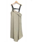 AULA(アウラ)の古着「アシンメトリーストラップドレス」|ベージュ