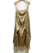RITO(リト)の古着「SILK SALOPETTE DRESS WITH LACE」 ベージュ