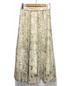 Apuweiser-riche(アプワイザーリッシェ)の古着「カットワークロングフレアスカート」 ベージュ