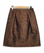 Viaggio Blu(ビアッジョブルー)の古着「フラワージャカードコクーンスカート」 ブラウン