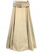 CINOH(チノ)の古着「ツイルコットンスリットスカート」|ベージュ