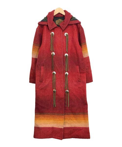 WOOLRICH(ウールリッチ)WOOLRICH (ウールリッチ) ネイティブ柄ブランケットウールコート レッド サイズ:Mの古着・服飾アイテム