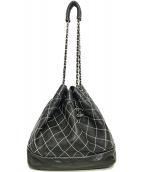 CHANEL(シャネル)の古着「ワイルドステッチ チェーンショルダー巾着バッグ」|ブラック