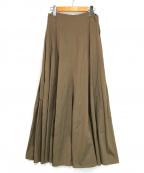 GALERIE VIE(ギャルリーヴィー)の古着「コットンシルク サイドタックスカート」 ブラウン