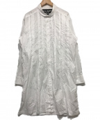 YohjiYamamoto pour homme(ヨウジヤマモトプールオム)の古着「ラウンドカラーロングタックシャツ」|ホワイト