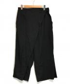 YohjiYamamoto pour homme(ヨウジヤマモトプールオム)の古着「ウールギャバラップパンツ」|ブラック