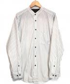 BLACK LABEL CRESTBRIDGE(ブラックレーベルクレストブリッジ)の古着「ストライププリントバンドカラーシャツ」|ホワイト