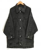 moussy(マウジー)の古着「ドップショルダーハーフデニムコート」 ブラック