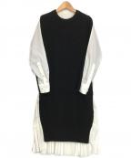 sacai(サカイ)の古着「再構築ニット切替シャツワンピース」|ホワイト×ブラック