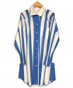 me ISSEY MIYAKE(ミー イッセイミヤケ)の古着「ストライププリーツシャツ」|ブルー×ホワイト