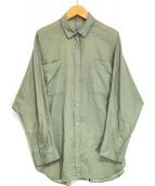 ()の古着「バックボタンシアーシャツ」 グリーン