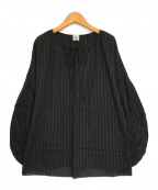 IENA LA BOUCLE(イエナ ラ ブークル)の古着「シアーストライプ ボリュームスリーブブラウス」|ブラック