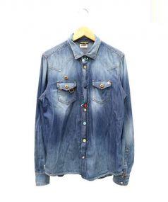 DIESEL(ディーゼル)の古着「マルチボタンインディゴシャツ」|インディゴ