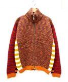 ETRO(エトロ)の古着「ダブルジップニットジャケット」 オレンジ