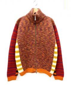 ETRO(エトロ)の古着「ダブルジップニットジャケット」|オレンジ
